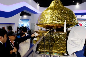 Mars spacecraft model from China Aerospace Science and Technology Corporation / Image courtesy of Xinhua/Zhang Jiansong