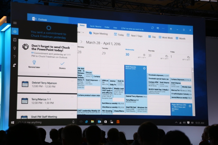 "Cortana flexing her muscles: ""Send Chuck the Powerpoint I worked on yesterday"" picks the right file and offers to send it to the correct person. That's impressive, and way cleverer than what's available from other smart assistants."