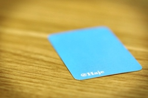 This is my business card. The color is True Blue from Twitter's brand guidelines, and the only thing written on the entire card is my Twitter user name. Because, clearly, I'm that guy.