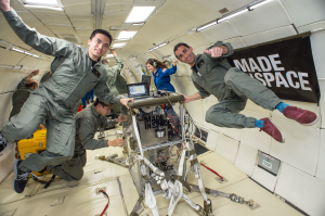 Made in Space testing their 3D printer on a parabolic flight / Image courtesy of NASA