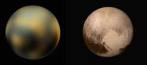 Left: Old image of Pluto created using the Hubble Space Telescope. Right: New image from New Horizons / Images courtesy of NASA