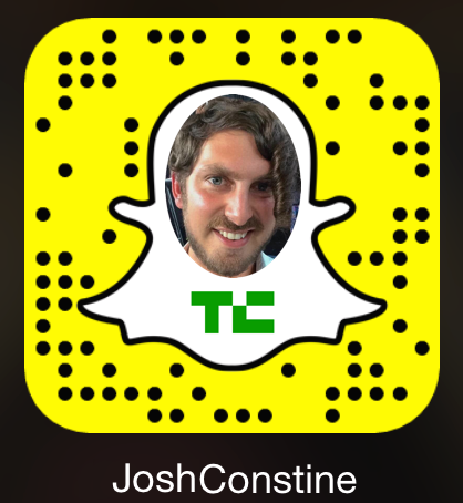 """Add me on Snapchat at """"JoshConstine"""" or scan this QR Snapcode with the app's camera"""