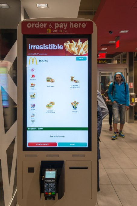 YONGE STREET, TORONTO, ONTARIO, CANADA - 2015/05/27: The technology invading business to save jobs: Macdonald's self ordering kiosk installed in a building. (Photo by Roberto Machado Noa/LightRocket via Getty Images)