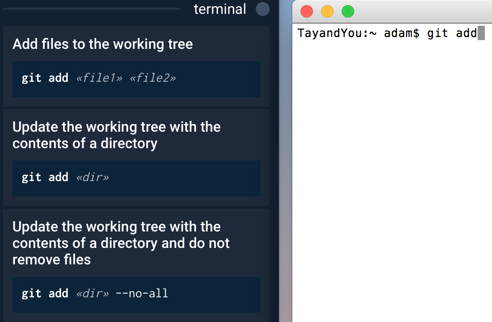 Bash examples of git add