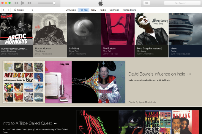 Apple Music's For You section looks like a blog