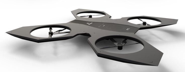 An artists impression of a home surveillance drone, featured on the FwdForce website