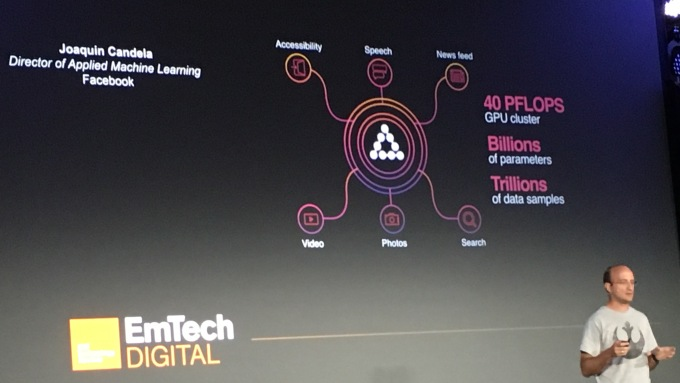 Facebook's Joaquin Candela presents on AI at the MIT Technology Review's Emtech Digital conference