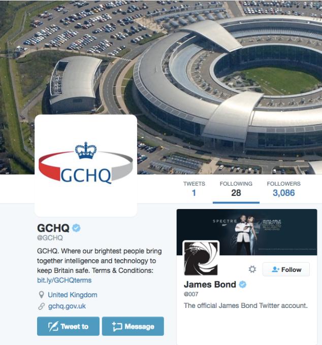 GCHQ Twitter James Bond