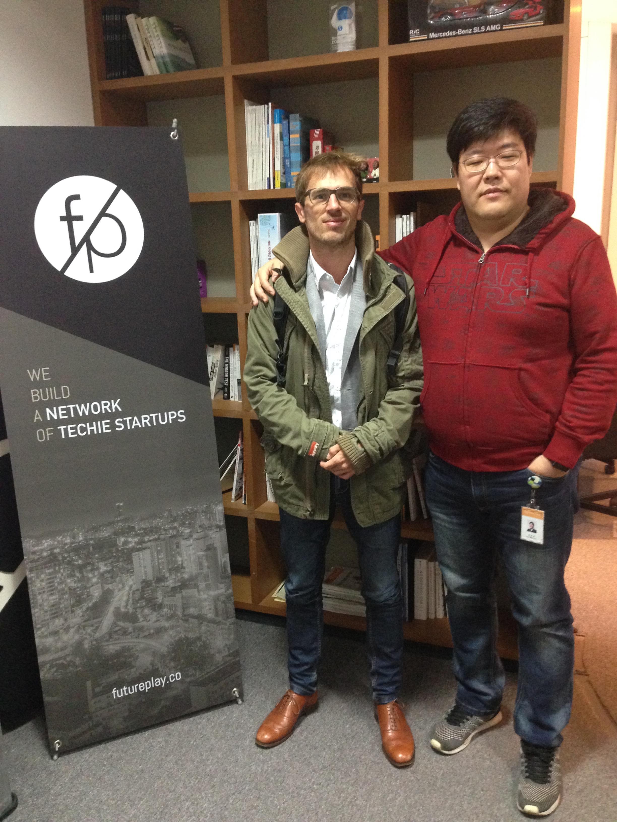 South Korea accelerator FuturePlay co-founder Jung-Hee Ryu with Martin PAsquier