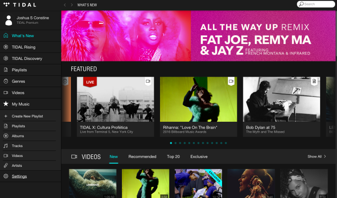Tidal's Browse page looks like a blog too