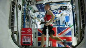 Exercise helps mitigate the harmful effects of microgravity - British Astronaut Tim Peake runs the London Marathon while on board the ISS - running/ Image courtesy of ESA