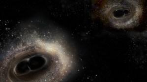 Illustration of black holes merging together / Image courtesy of LIGO/Caltech