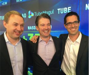 Bee Partners' Michael Berolzheimer (center) with TubeMogul cofounders Brett Willson and John Hughes on July 18, 2104, the date of TubeMogul's IPO.