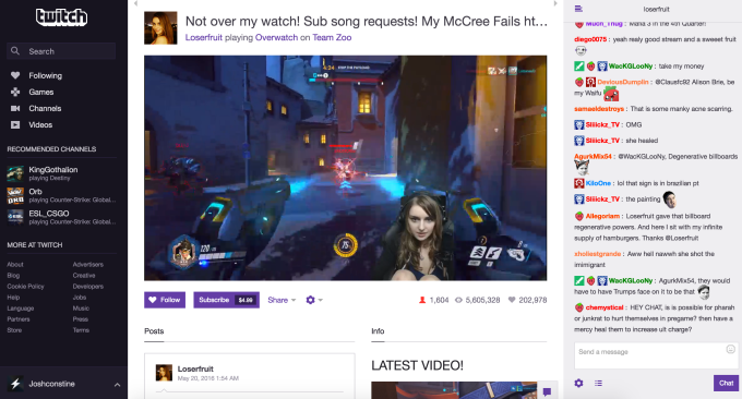 Twitch's dedicated game streaming interface