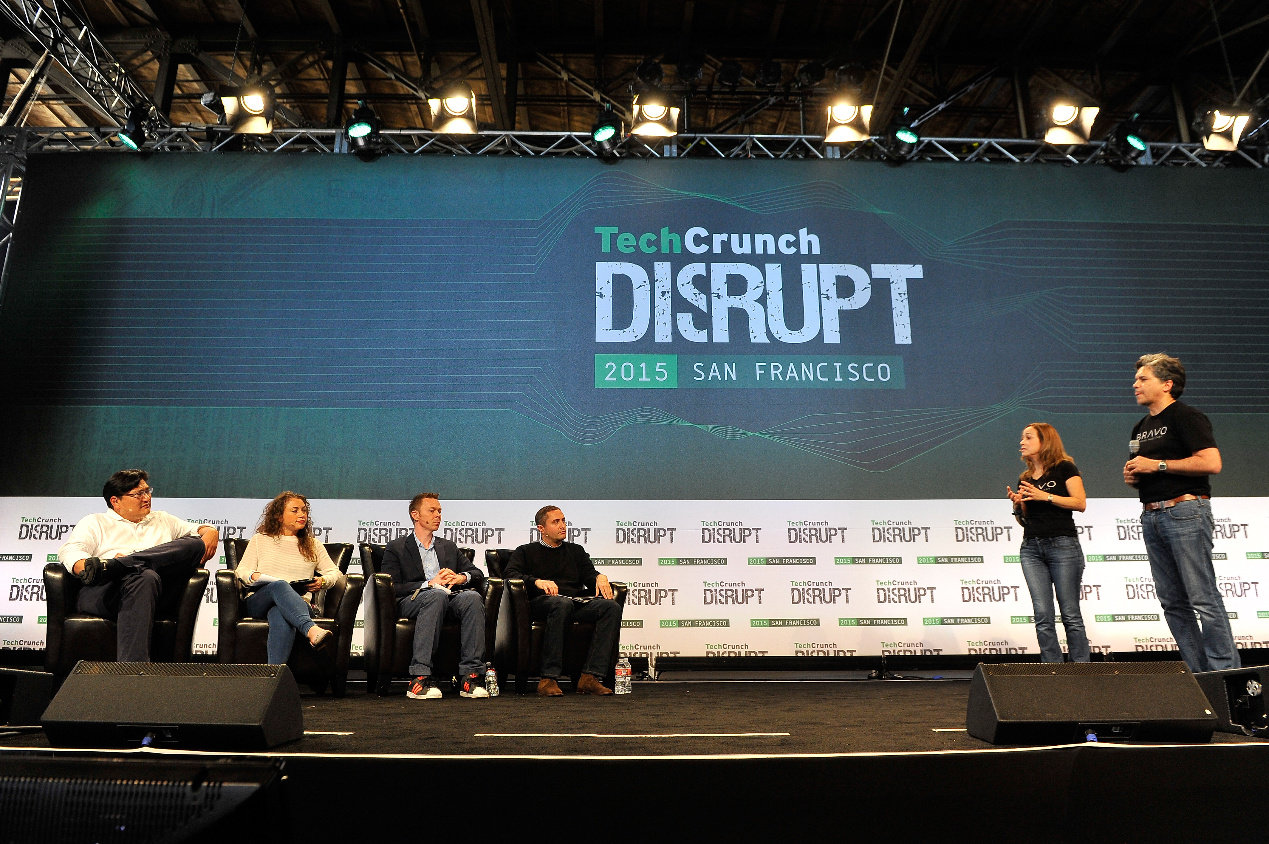SAN FRANCISCO, CA - SEPTEMBER 21: The group from Bravo presents to the judges onstage during Startup Battlefield on day one of TechCrunch Disrupt SF 2015 at Pier 70 on September 21, 2015 in San Francisco, California. (Photo by Steve Jennings/Getty Images for TechCrunch)