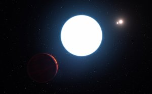 Illustration of HD 131399Ab with its three suns / Image courtesy of ESO