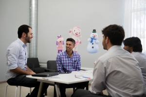 Disney Accelerator Mentor Ryan Spoon (Sr VP Product Management) meets with Disney Accelerator 2015 group.