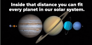 """Earth/Moon to scale / Screenshot from BuzzFeed video """"209 Seconds That Will Make You Question Your Entire Existence"""""""