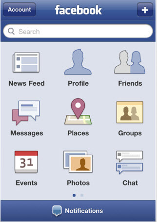 Facebook's app circa 2009 when it misunderstood mobile