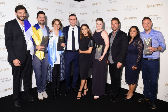 EW YORK, NY - JULY 14: Finalists, Maria Pacheco, Kenny Ewan, Or Retzkin, Julia Romer and Oscar Andres Mendez join judges, Eva Longoria, Joe Huff, Sonal Shah and Alexandre Ricard at Chivas' The Venture Final Event on July 14, 2016 in New York City. (Photo by Michael Loccisano/Getty Images for Chivas The Venture)