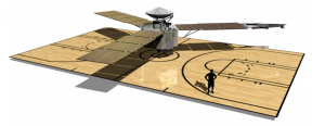 Juno spacecraft size in relation to a basketball court / Image courtesy of NASA/JPL