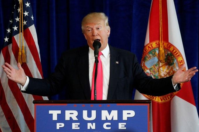 Republican presidential nominee Donald Trump speaks at a campaign event at Trump Doral golf course in Miami, Florida, U.S., July 27, 2016. REUTERS/Carlo Allegri