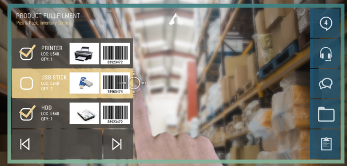 Atheer smart glasses interface for order picker in a warehouse.
