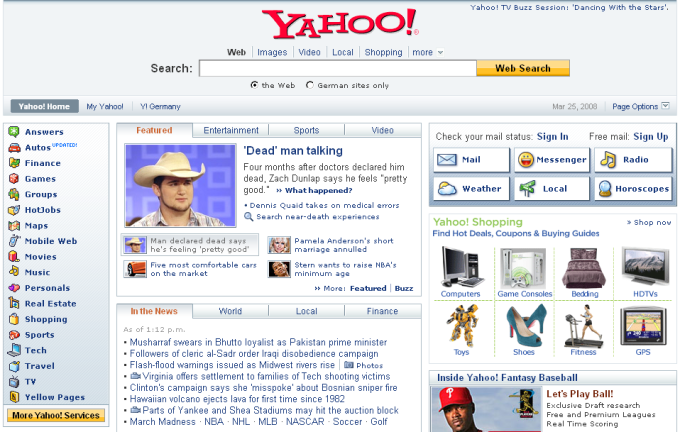 Yahoo home page in 2008