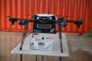 In a near future, you can talk to your pizza-bot, and have Flirtey's drones deliver the pizzas to your house. What a time to be alive. Flirtey, the drone delivery startup, developed a drone to deliver hot pizzas for Dominos.