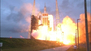 Launch of Orion atop the Delta IV-Heavy rocket for Exploration Flight Test 1 / Image courtesy of NASA