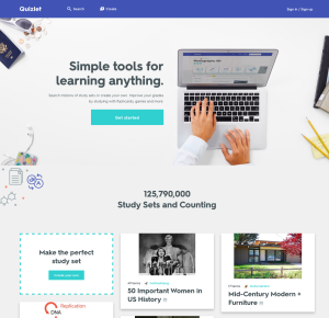 Quizlet's new look and feel.