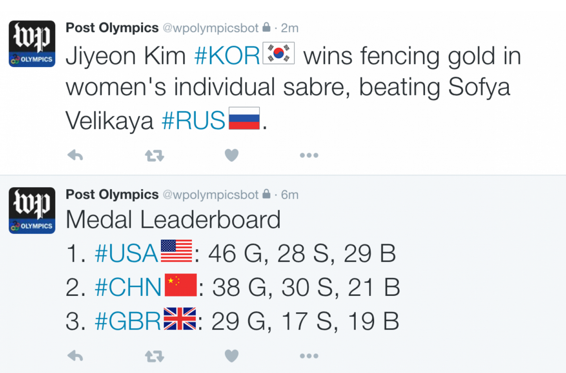 A look at how the Twitter updates will appear, using 2012 Olympics data. (Source: The Washington Post)