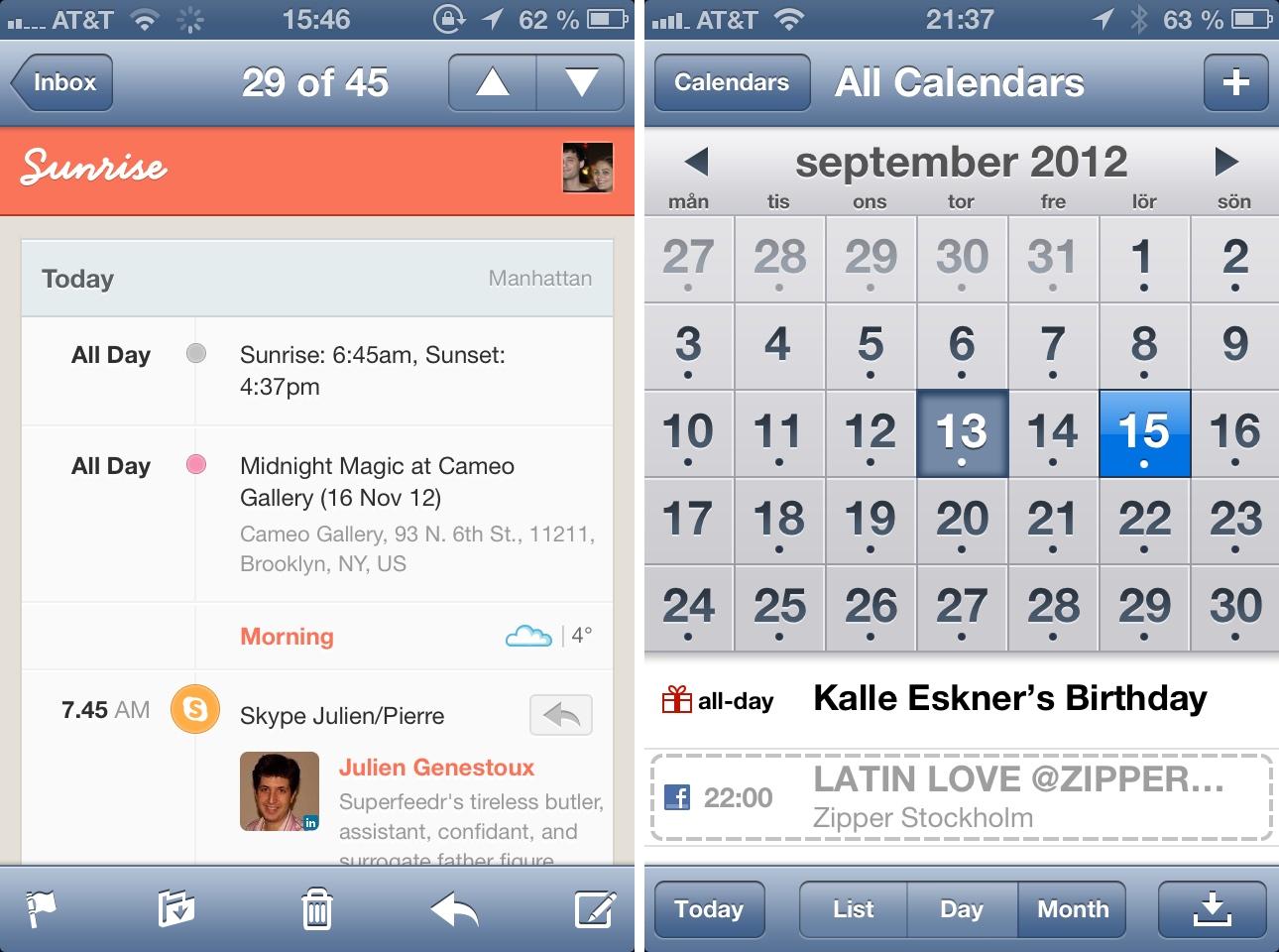 Sunrise email vs iOS 6