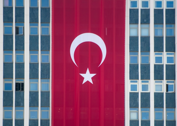 The Republic of Turkey flag hangs on the side of a building as show of solidarity following a July 15 Coup. (DoD Photo by Navy Petty Officer 2nd Class Dominique A. Pineiro)