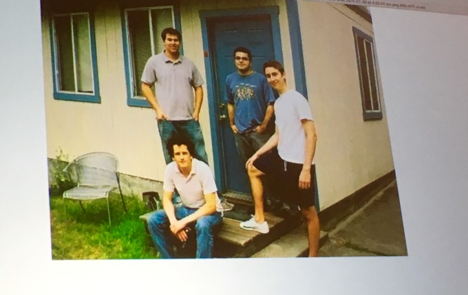 Box's four founders around 2005 outside their converted garage apartment/headquarters.