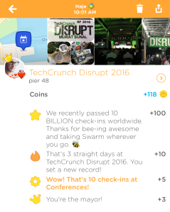 I'm writing this at TechCrunch Disrupt, so it's only apt that my highest-scoring check-in happened here! #CoinRich