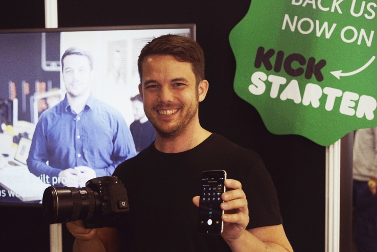I cruelly tricked Oliver Perialis, founder of Foolography, into posing in front of a photo of himself pitching his product. Because I'm a cruel human being.