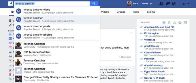 Terence Crutcher isn't Trending on Facebook for some users despite having more mentions than some other topics