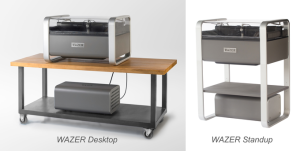 Wazer's product will ship in two versions, one with a stand, and one designed to put on a table