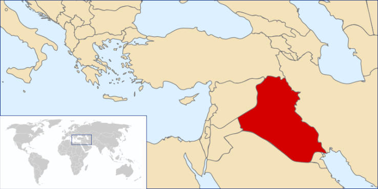 Iraq on the world map.