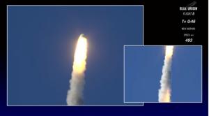 Blue Origin escape system activated / Screenshot of Blue Origin live feed