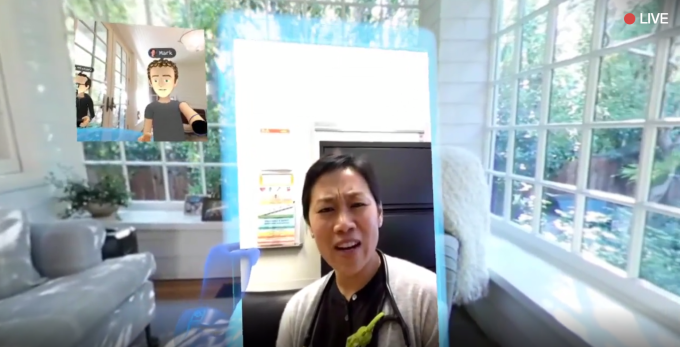 Zuckerberg takes a Messenger video call in VR with his wife