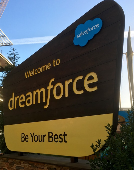 Dreamforce signs that echo American national park signs.