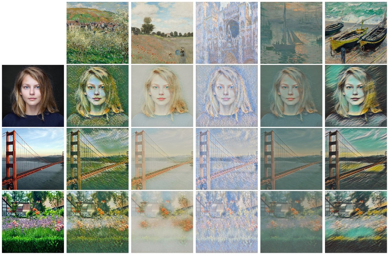 Several Monet paintings and their effects on several examples - the system keeps track of the underlying similarities.