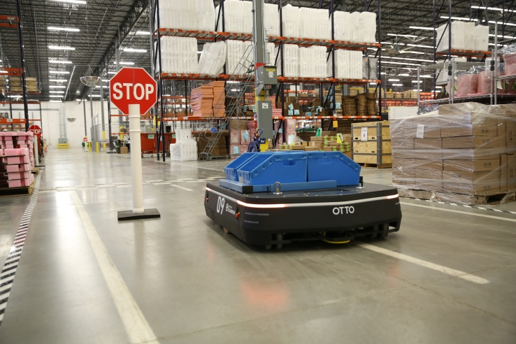 OTTO self-driving vehicles recognize characters on road signs and behave accordingly.