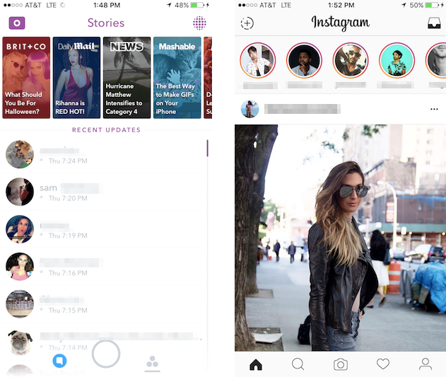 Snapchat's old Stories Page design pushed friends below Discover channels, while Instagram Stories highlights friends' Stories at the top