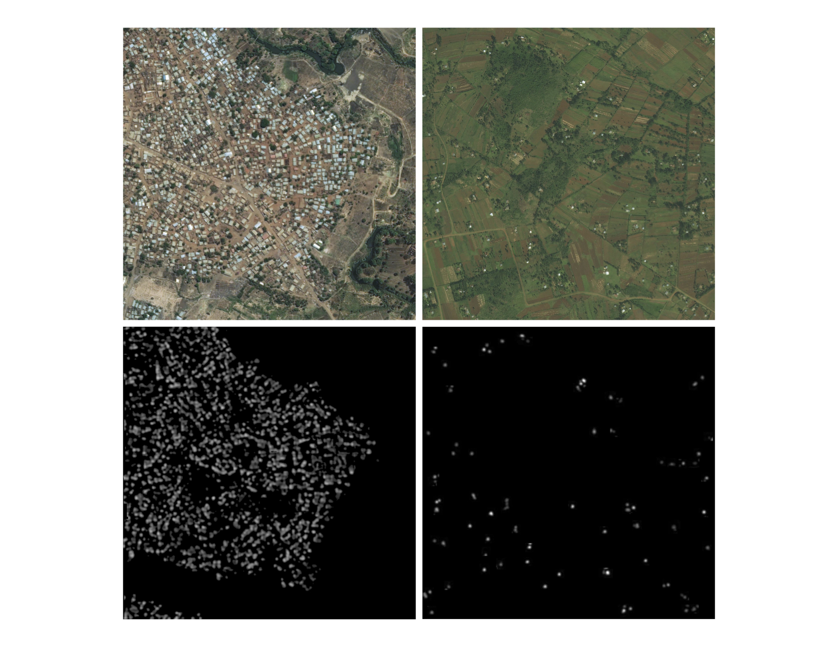Display of both urban and rural populations on the top from DigitalGlobe imagery with Facebook's analysis underneath.
