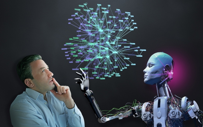 Human and robot working together.