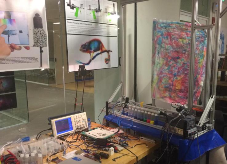 The Artmatr painting robot was part of MIT Hacking Arts 2016 hackathon.