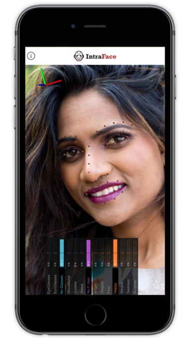 FacioMetrics' app can detect happiness in this person's face